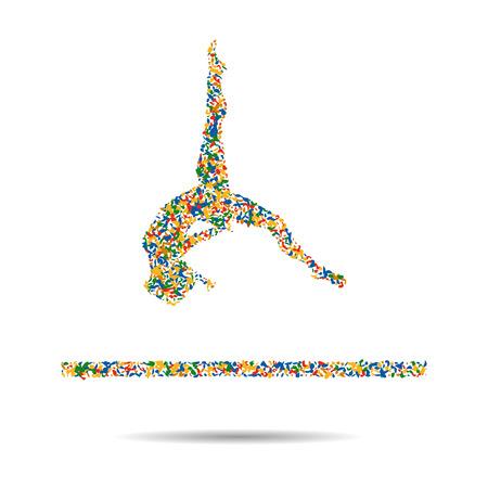 Los atletas de gimnasia ejercicio de piso juegos del verano. Competencia Internacional isométrica Athlete.Sporting Campeonato. ilustración vectorial Foto de archivo - 60918607