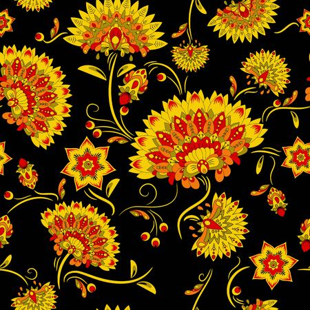 khokhloma: Traditional russian khokhloma seamless pattern. Vector illustration Illustration