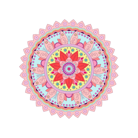 Decorative tribal mandala ornament rosette. Vector illustration