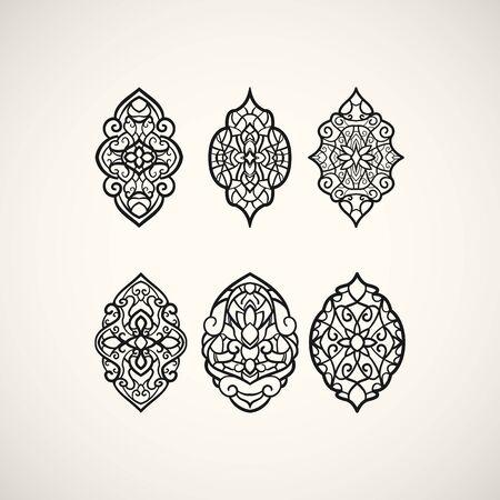 elliptical: Set of elliptical patterns. Line art design.