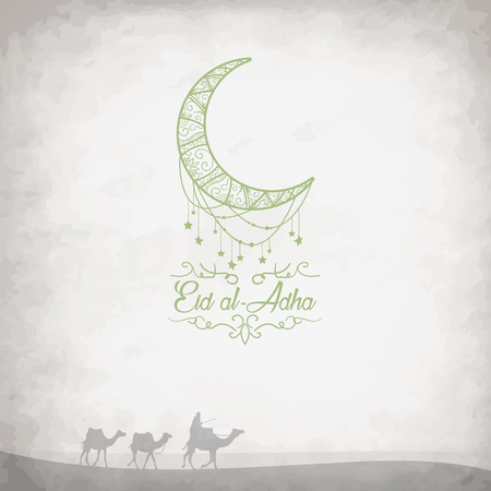 Creative graphics with camels in the desert on grungy background for Islamic Festival of Sacrifice of Eid-Al-Adha celebration.