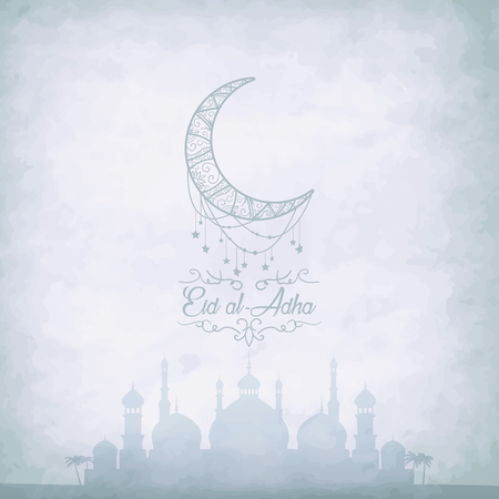 Arabic Islamic calligraphy of text Eid-Ul-Adha with mosque silhouette on beige background. Vetores