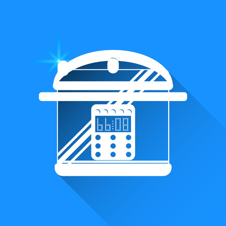 steam cooker: Pan on Blue background. Vector isolated Illustration