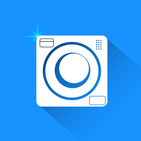 major household appliance: Washing machine on blue background. Vector isolated