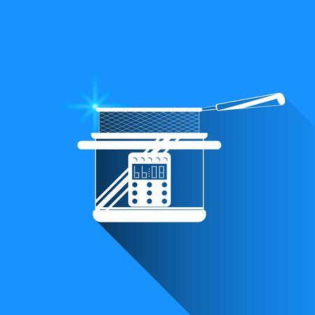 fryer: Deep fryer on blue background. Vector isolated