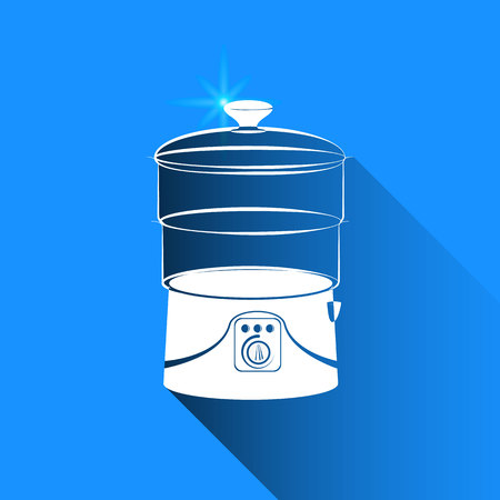 double boiler: double boiler on blue background
