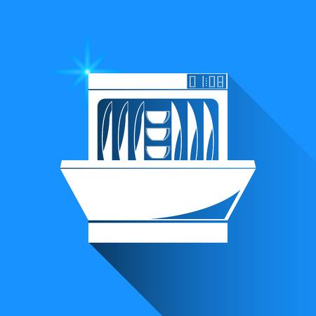 dishwasher: dishwasher on blue background