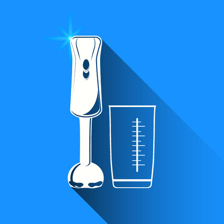 cocktail mixer: blender on blue background Illustration
