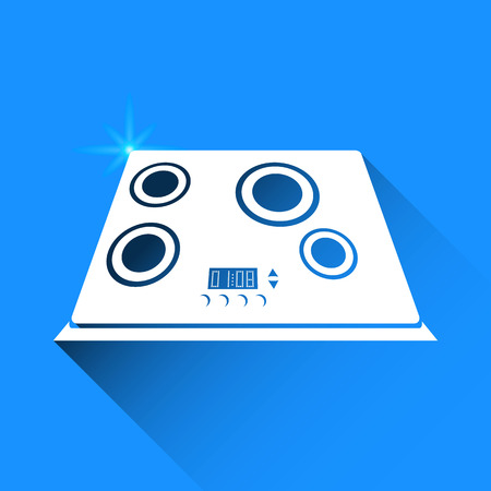 cooktop: induction cooker on blue background Illustration