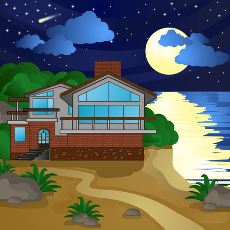 house on the beach, night, moonlight, starry sky Vectores