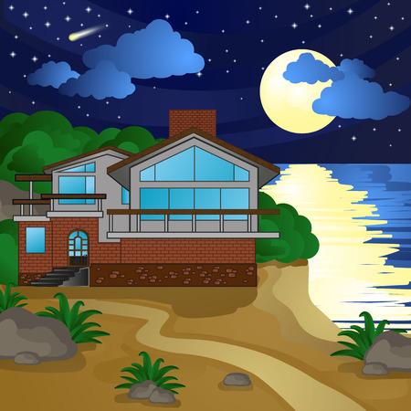casa sulla spiaggia, di notte, al chiaro di luna, il cielo stellato Vettoriali