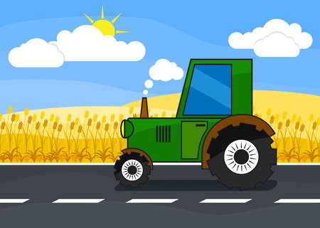 to clean up: Tractor rides on the road to clean up in the wheat harvest Illustration