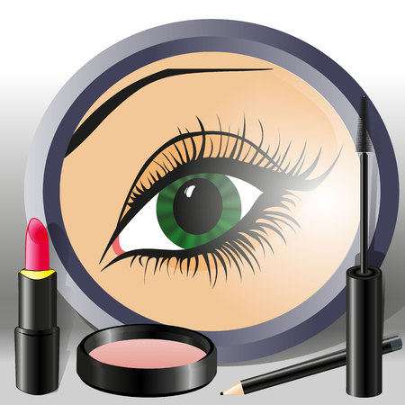 female eye in a mirror with a pencil, lipstick, mascara and powder box