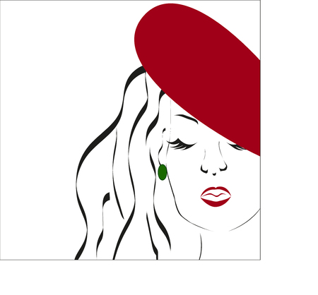 Beauty icon Beautiful woman face with red hat