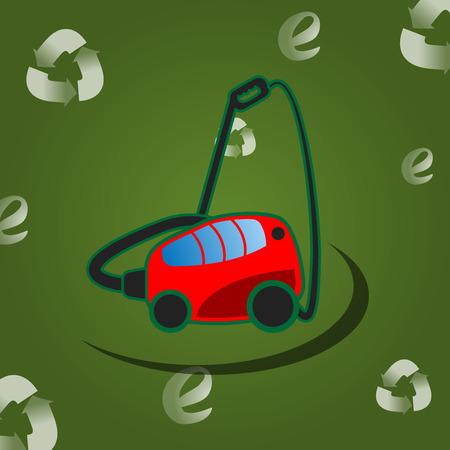 Vacuum cleaner on the green background Ilustração