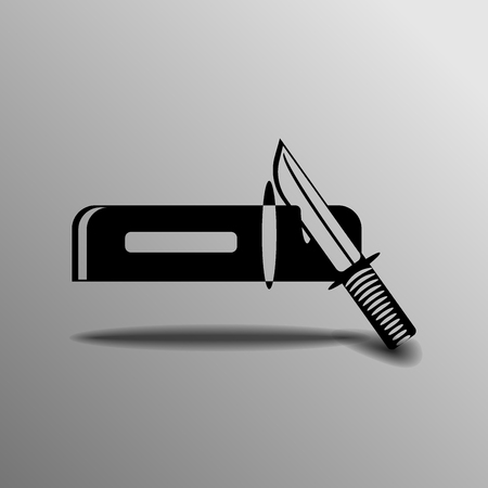 sharpening: icon on sharpening a knife on a gray background