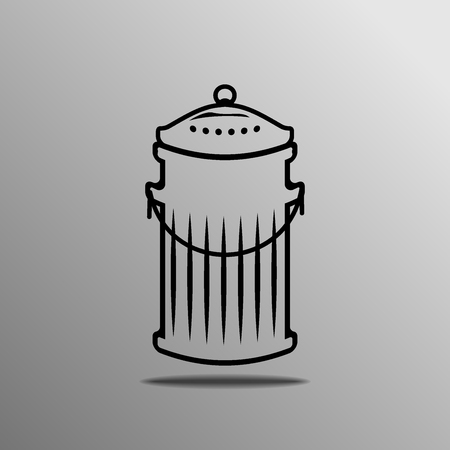 scrapyard: Trash can. Vector illustration over white