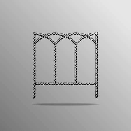 fenced: fenced icon on a gray background Illustration