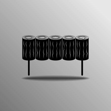 sawed: wooden fence icon on a gray background