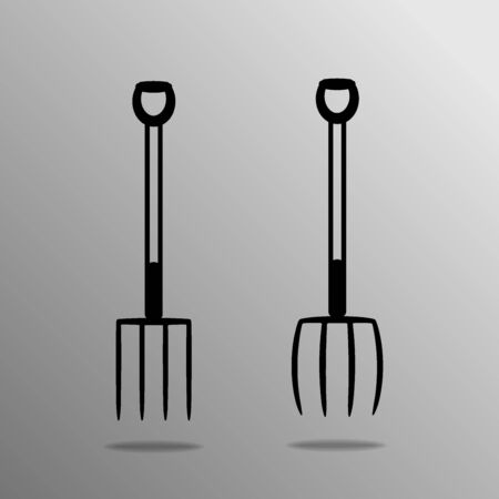 pitchfork: Agricultural implements - pitchfork on four thorns. Vector illustration. Illustration