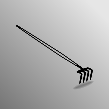 implements: Agricultural implements - pitchfork on four thorns. Vector illustration. Illustration