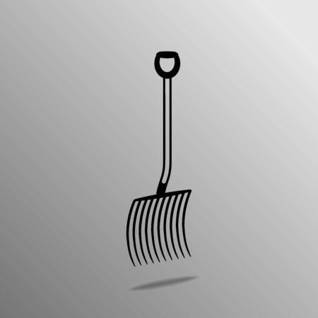 tines: Agricultural implements - pitchfork on four thorns. Vector illustration. Illustration
