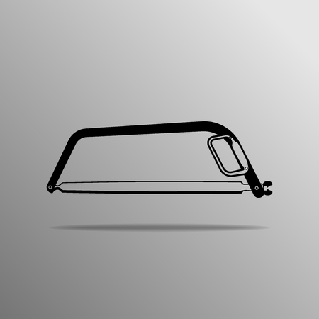 sawdust: Bow Saw on a gray background Illustration