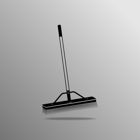 janitorial: Push Broom on a gray background Illustration