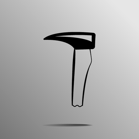 extreme close up: black Hookaroon axe on a grey background Illustration