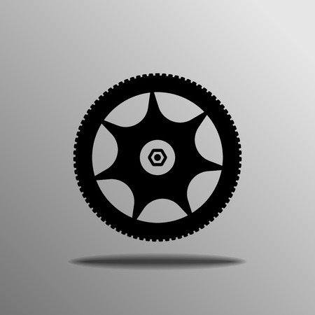 black Wheel icon on the grey background