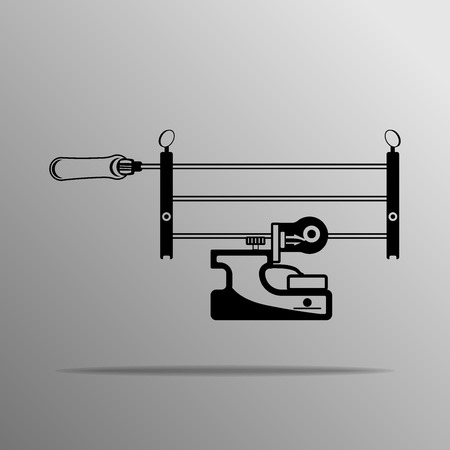 chain saw: Chain Saw Sharpening Tool on the grey, Manual Illustration