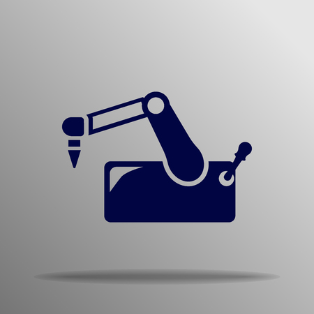 automaton: vector robotic arm blue on a gray background