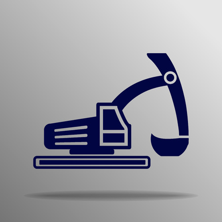 dredger: Excavator icon blue on a gray background