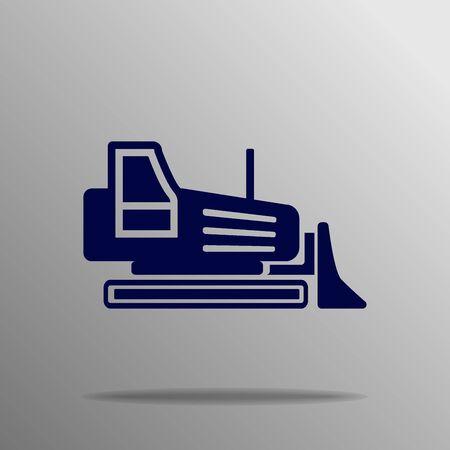 grader: Excavator bulldozer, grader blue on a gray background Illustration