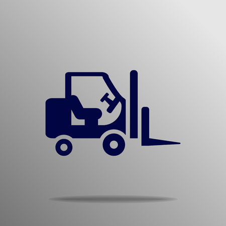 stockpile: Stacker loader icon blue on a gray background