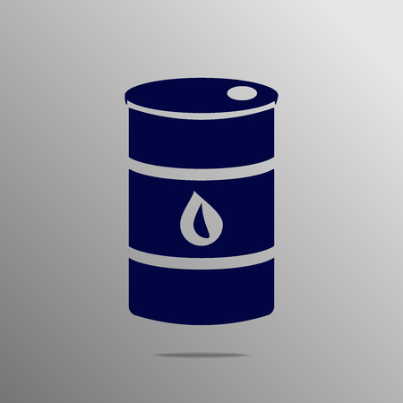 combust: oil barrel blue on a gray background Illustration