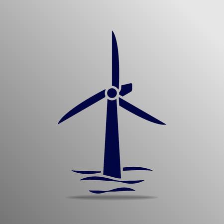 turbines: 3 wind turbines blue on a gray background