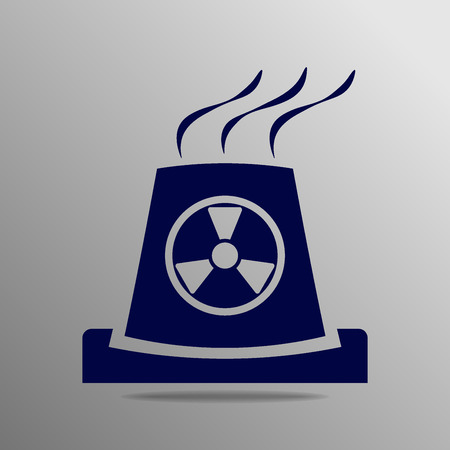 thermal power plant: atomic power station blue on a gray background Illustration