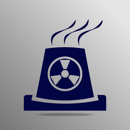atomic: atomic power station blue on a gray background Illustration