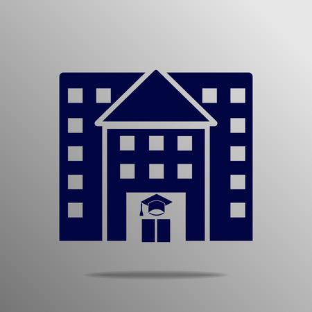 governmental: University building blue on a gray background Illustration