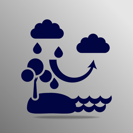 condense: The water cycle blue on a gray background