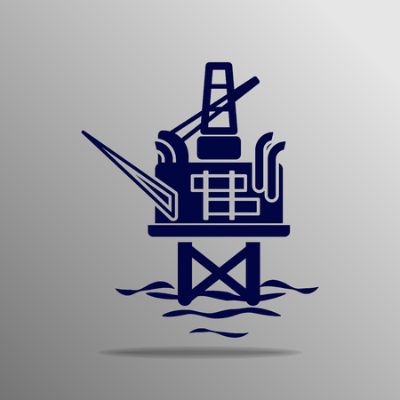 drilling rig: Oil drilling rig silhouette blue on a gray background