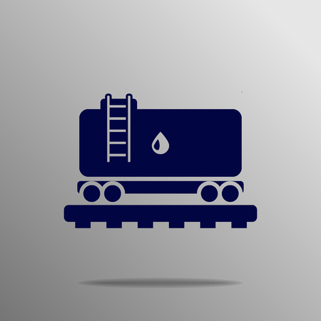 Railroad Tank Icon blue on a gray background Vector Illustration
