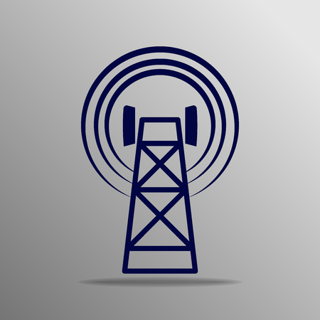 cell tower: Cell Phone Tower blue on a gray background