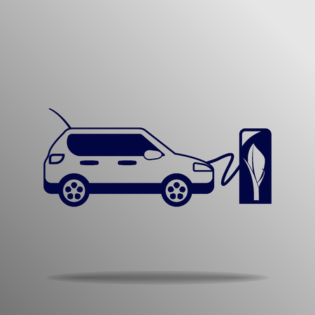 recharging: electric vehicle charging station blue on a gray background