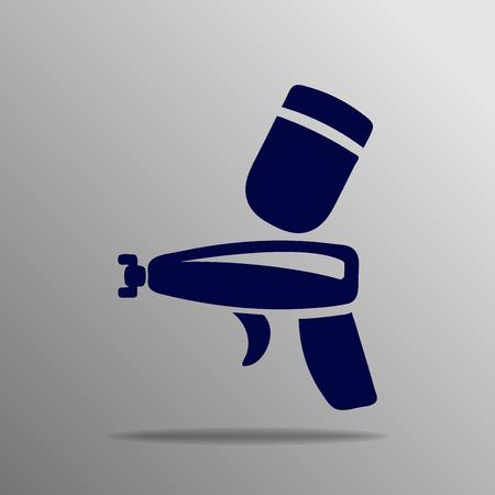 pulverizer: Spray gun icon blue on a gray background