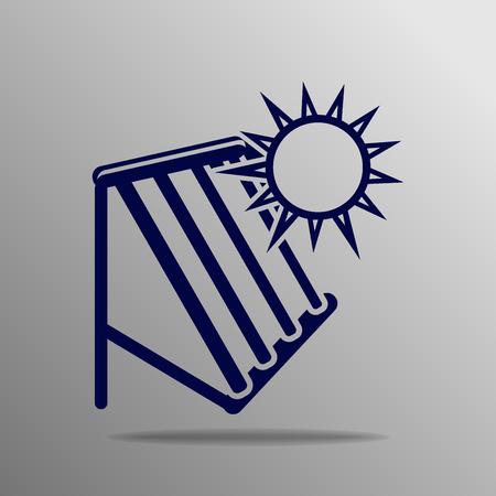Solar warmwatersysteem blauw op een grijze achtergrond