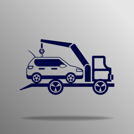 evacuating: Car evacuator icon blue on a gray background