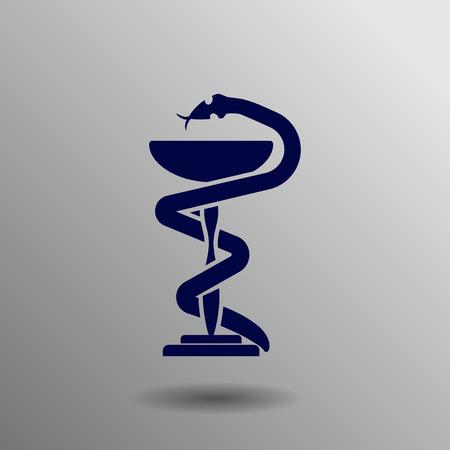 emblem for drugstore or medicine: medical symbol blue on a gray background
