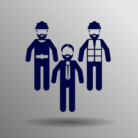 hammer head: Builder icon blue on a gray background Illustration
